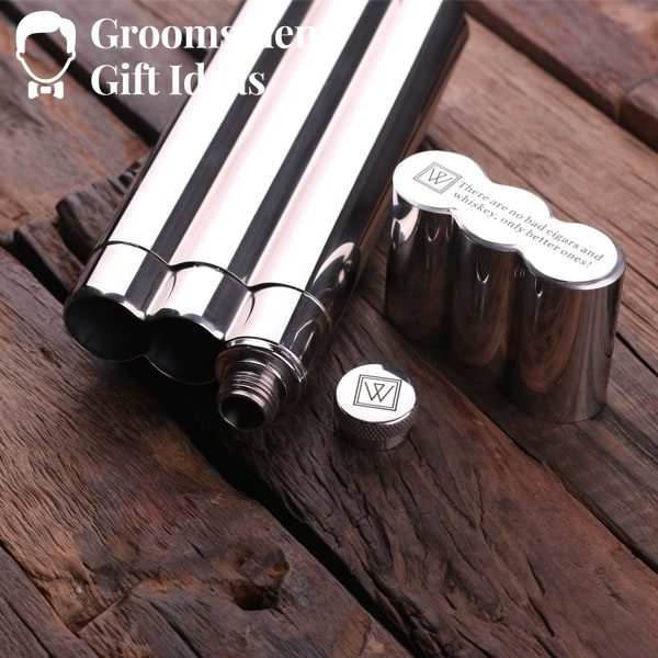 Personalized Stainless  Steel Cigar Holder with Whiskey Flask  with Wood Box