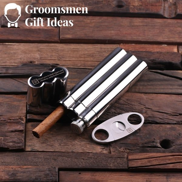 Personalized Stainless  Steel Cigar Holder with Whiskey Flask and Cutters