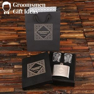 Personalized Shot Glass & 5 oz Flask Groomsmen Gift Set Idea