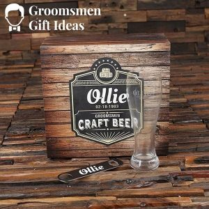 Personalized 24 oz Pilsner Beer Glass with Bottle Openers and Wood Box which holds Six 12 oz Beer Cans – Black Label