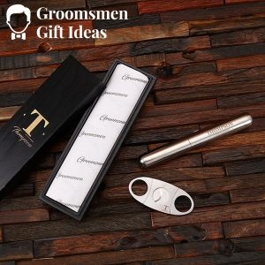 Personalized Cigar Cutter & Cigar Holder Groomsmen Gift Set