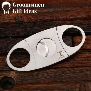 Personalized Cigar Cutter & Cigar Holder Groomsmen Gift Set