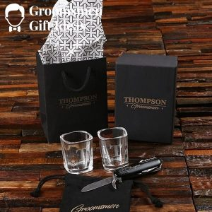 Utility Pocket Knife & Shot Glass Groomsmen Gift Set Idea