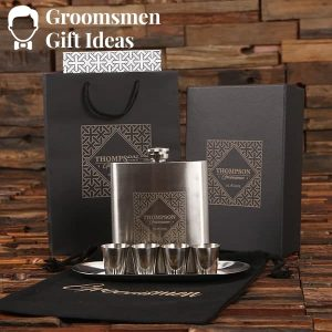 Shot Glass & Metal Tray Groomsmen Gift