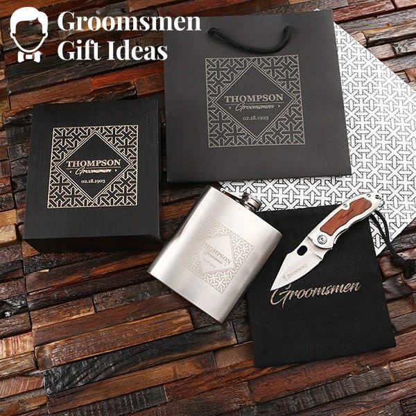 Personalized 7 oz Flask & Pocket Knife Groomsmen Gift Set