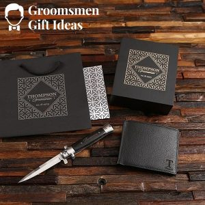 Personalized Groomsmen Leather Wallet & Switchblade Knife Set