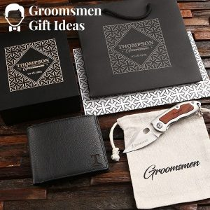 Personalized Leather Wallet & Pocket Knife Groomsmen Gift Idea