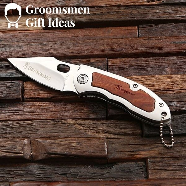 Personalized Leather Wallet & Pocket Knife Groomsmen Gift Idea