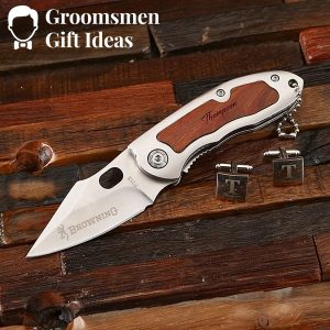 Personalized Cuff Link & Pocket Knife Groomsmen Gift Set Idea