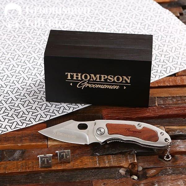 Personalized Cuff Link & Pocket Knife Groomsmen Gift Set Idea